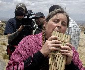 "On location in                                 Bolivia filming ""Panpipes for                                 Peace"""